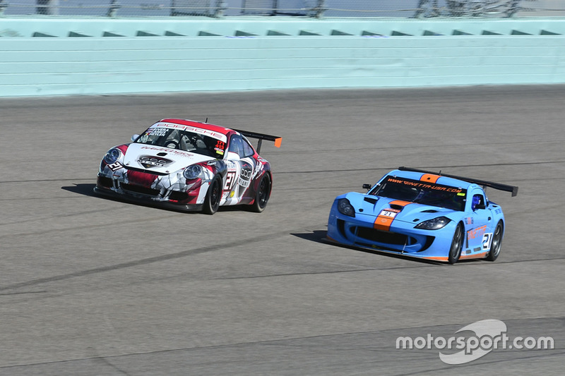 #21 MP2A Ginetta G55 driven by Elias Azevedo & Chelo La Manna of Ginetta USA, #21 MP2A Porsche GT3 Cup driven by Ari Rivera, Jan Heylen, & Michael Camus of Classic Car Club Miami