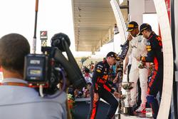 Max Verstappen, Red Bull, second place, Race winner Third place Lewis Hamilton, Mercedes AMG F1 Daniel Ricciardo, Red Bull Racing, on the podium