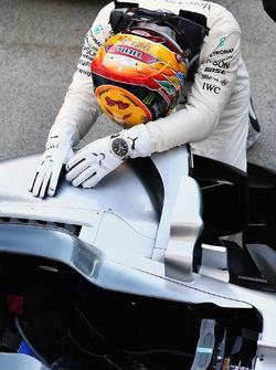 Race winner Lewis Hamilton, Mercedes-Benz F1 W08  celebrates in parc ferme