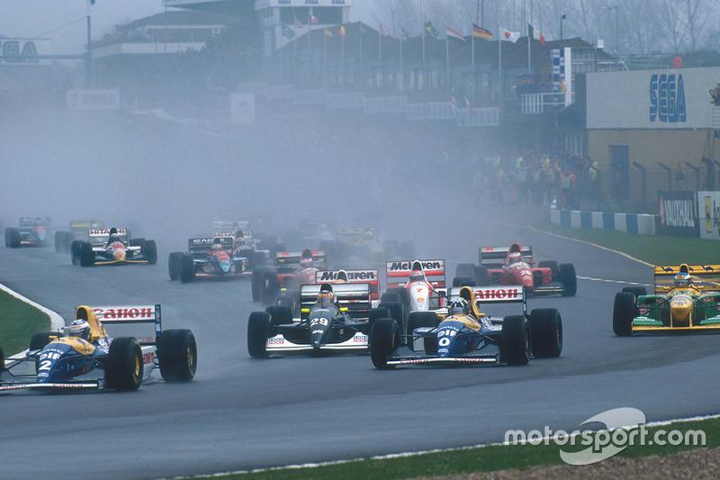 Alain Prost, Damon Hill, Williams FW15C, Karl Wendlinger, Sauber C12, Ayrton Senna, McLaren MP4/8, Michael Schumacher, Benetton B193B, Michael Andretti, McLaren MP4/8