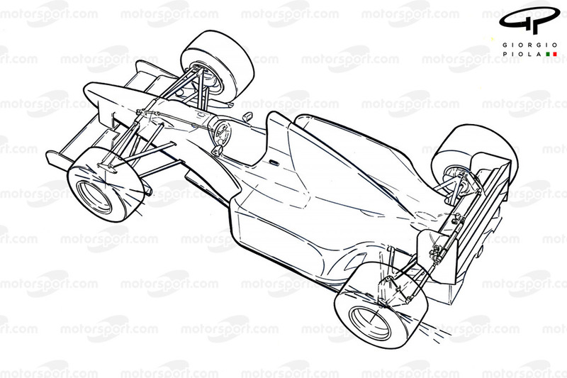 Benetton B193B 1993 rear-wheel steering schematic overview