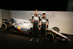 (L to R): Esteban Ocon, Sahara Force India F1 Team with team mate Sergio Perez, Sahara Force India F1 and the Sahara Force India F1 VJM10