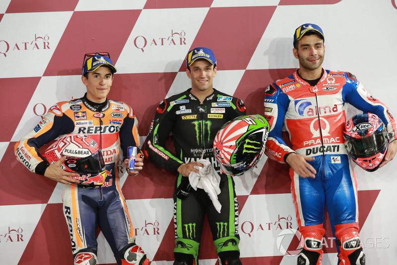 Los 3 mejores después de la calificación: Marc Marquez, Repsol Honda Team, Johann Zarco, Monster Yamaha Tech 3, Danilo Petrucci, Pramac Racing