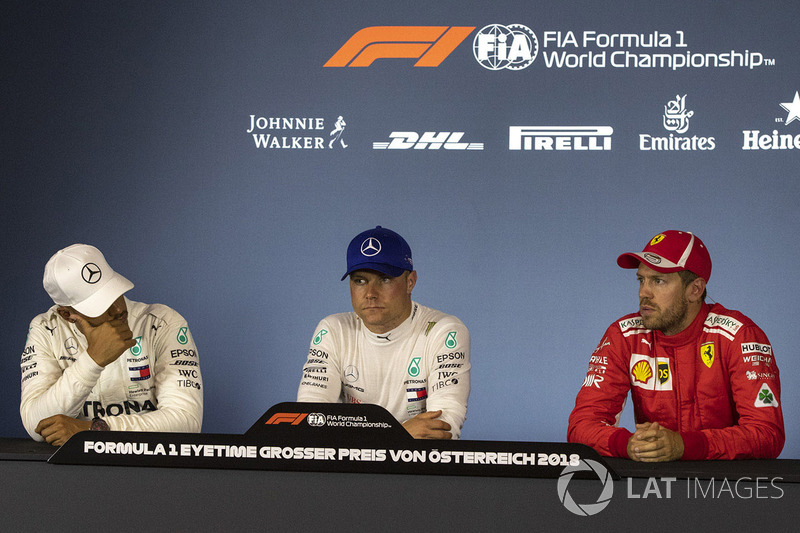 Lewis Hamilton, Mercedes-AMG F1, Valtteri Bottas, Mercedes-AMG F1 and Sebastian Vettel, Ferrari in the Press Conference