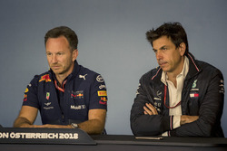 Christian Horner, Red Bull Racing Team Principal and Toto Wolff, Mercedes AMG F1 Director of Motorsport in the Press Conference