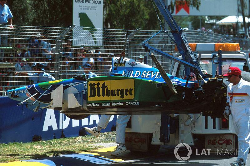 Michael Schumacher,Benetton B194 Ford after his crash