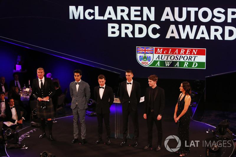 David Coulthard and Lee McKenzie flank Enaam Ahmed, Max Fewtrell, Harrison Scott and Daniel Ticktum