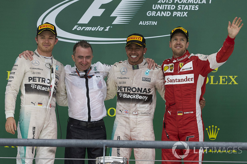 2015 : 1. Lewis Hamilton, 2. Nico Rosberg, 3. Sebastian Vettel