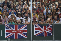 Fans show their support for Lewis Hamilton, Mercedes AMG F1