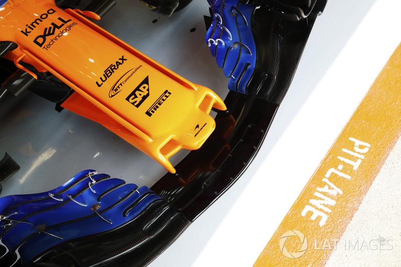 El alerón delantero del McLaren MCL33 a detalle