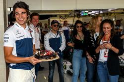 Lance Stroll, Williams with birthday cake celebrates his 19th Birthday with Rob Smedley, Williams Head of Vehicle Performance, Felipe Massa, Williams and family