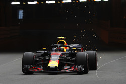 Max Verstappen, Red Bull Racing RB14, strikes sparks exiting the tunnel