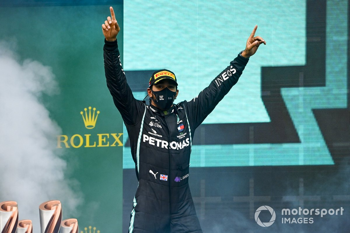 Lewis Hamilton, Mercedes-AMG F1, 1st position, arrives on the podium