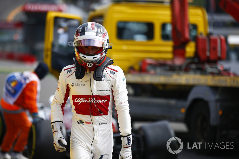 Charles Leclerc, Sauber C37, retires on the opening lap, after contact from Fernando Alonso, McLaren