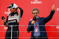 (L to R): Sergio Perez, Sahara Force India F1 on the podium with Eddie Jordan (IRE)