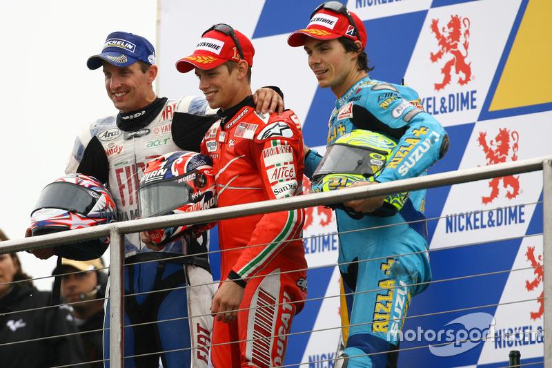 Podium: Colin Edwards, Yamaha; Casey Stoner, Ducati; Chris Vermeulen, Suzuki