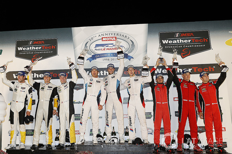 GTLM podium: gandores, Bill Auberlen, Alexander Sims, Kuno Wittmer, BMW Team RLL, segundos, Antonio Garcia, Jan Magnussen, Mike Rockenfeller, Corvette Racing, terceros, Toni Vilander, Giancarlo Fisichella, Alessandro Pier Guidi, Risi Competizione