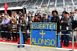Fernando Alonso, McLaren fans and banner