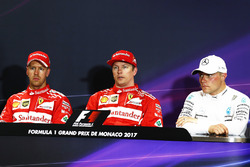 Press conference: polesitter Kimi Raikkonen, Ferrari, second place Sebastian Vettel, Ferrari, third place Valtteri Bottas, Mercedes AMG F1