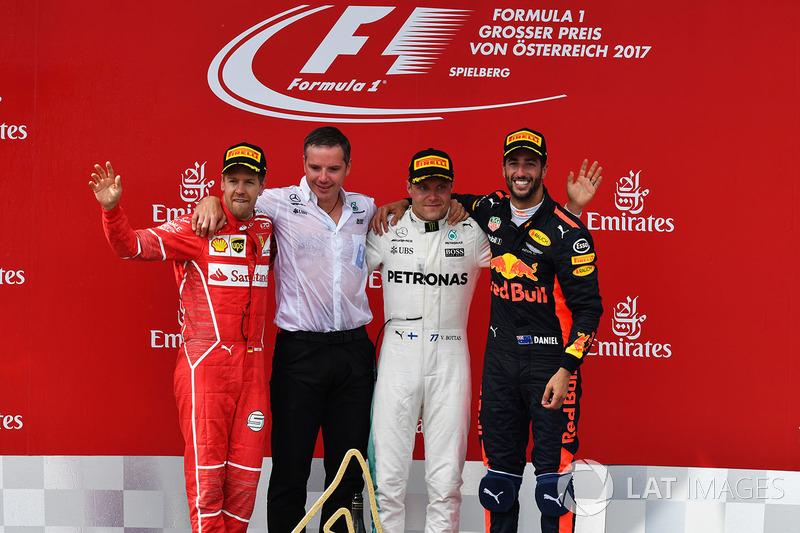 Sebastian Vettel, Ferrari, Valtteri Bottas, Mercedes AMG F1, Daniel Ricciardo, Red Bull Racing celebrate on the podium