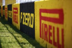 Pirelli signage along the pit straight