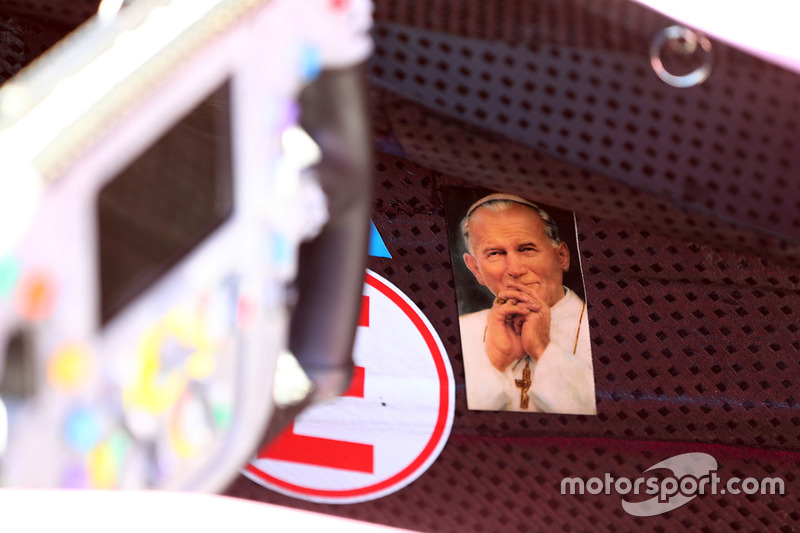 Picture of the Pope in the car of Sergio Perez, Sahara Force India F1 VJM10