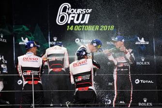Podium LMP1: winners Mike Conway, Kamui Kobayashi, Jose Maria Lopez, Toyota Gazoo Racing, second place Sebastien Buemi, Kazuki Nakajima, Fernando Alonso, Toyota Gazoo Racing