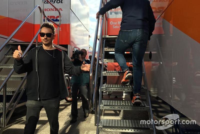 Jorge Lorenzo arriving at Repsol Honda truck
