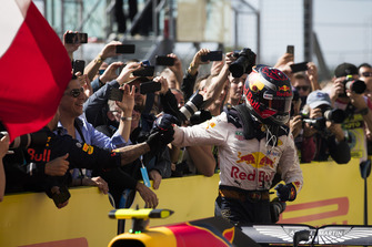 Max Verstappen, Red Bull Racing, 2nd position, celebrates in Parc Ferme