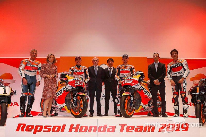 Mick Doohan, Alex Criville, Marc Márquez y Jorge Lorenzo, Repsol Honda Team
