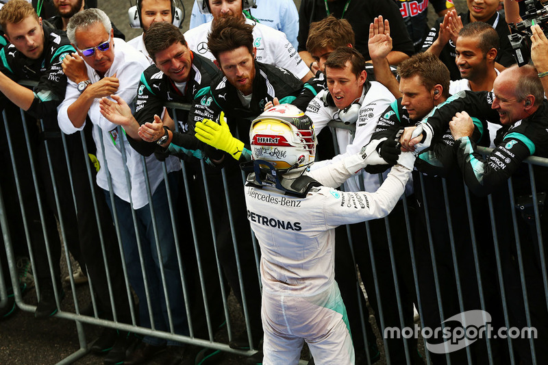 Lewis Hamilton, Mercedes AMG F1 celebrates his third position with the team in parc ferme