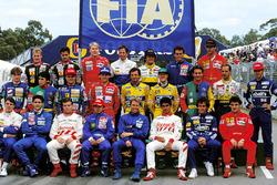 Johnny Herbert, Lotus, Pedro Lamy, Lotus, Mika Hakkinen, McLaren, Martin Brundle, Ligier, Pierluigi