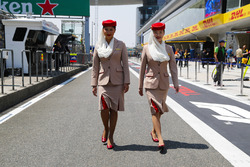 Emirates Airlines flight attendants in the paddock