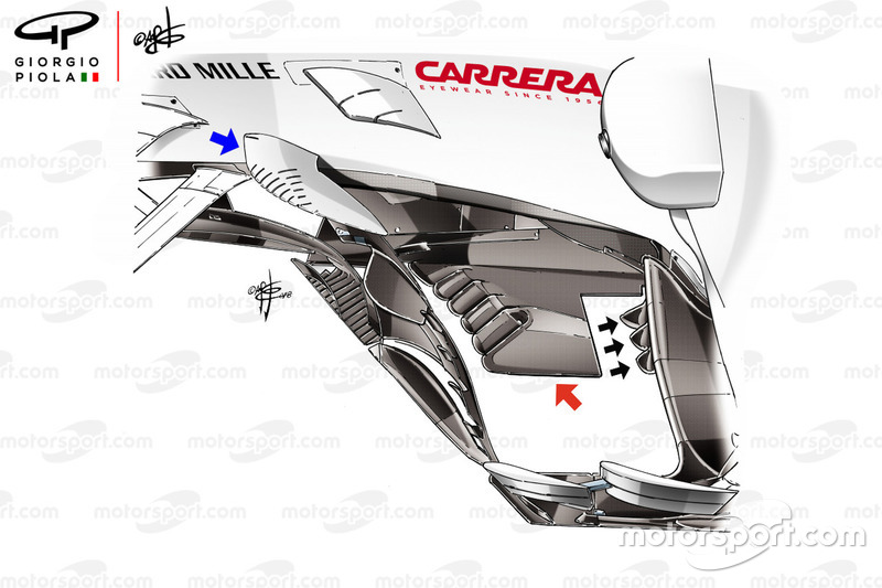 Sauber C37 new floor, captioned
