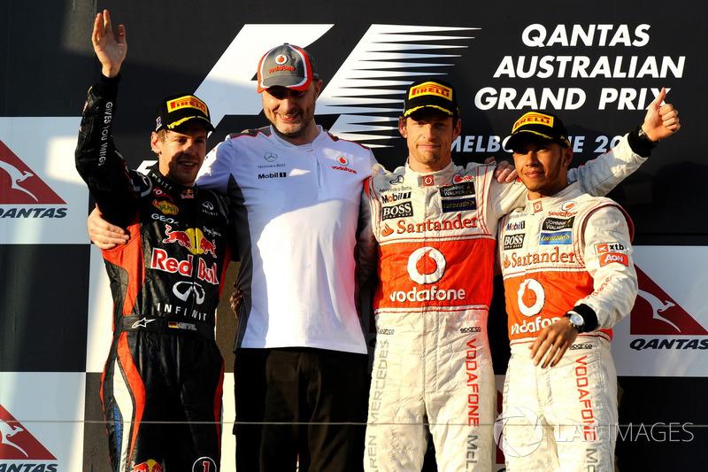 2012. Подіум: 1. Дженсон Баттон, McLaren. 2. Себастьян Феттель, Red Bull. 3. Льюіс Хемілтон, McLaren