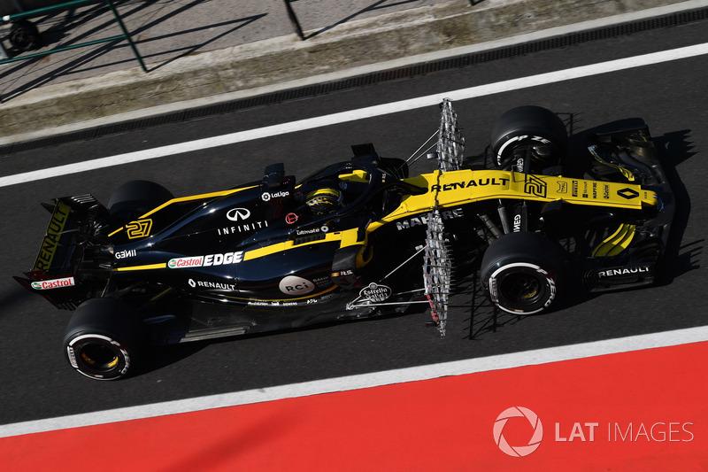 Nico Hulkenberg, Renault Sport F1 Team R.S. 18 con parrillas aerodinámicas