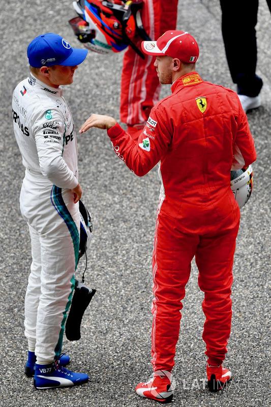 Valtteri Bottas, Mercedes-AMG F1 and Sebastian Vettel, Ferrari in parc ferme