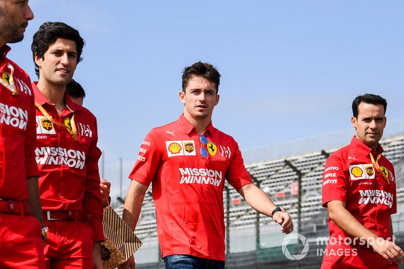 Charles Leclerc, Ferrari walks the track