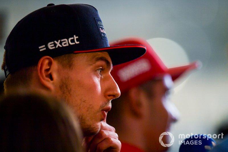 Max Verstappen, Red Bull Racing, and Charles Leclerc, Ferrari