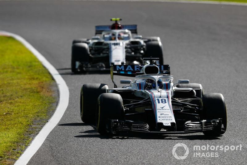 Lance Stroll, Williams FW41, leads Charles Leclerc, Sauber C37