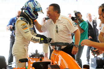 Jimmie Johnson in the McLaren and Zak Brown