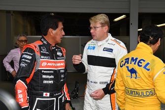 Satoru Nakajima, Aguri Suzuki and Mika Hakkinen at Legends F1 30th Anniversary Lap Demonstration