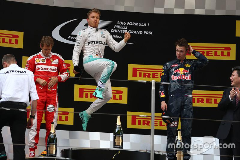 8. Podium: Nico Rosberg, Mercedes AMG F1 Team, Sebastian Vettel, Ferrari, Daniil Kvyat, Red Bull Racing