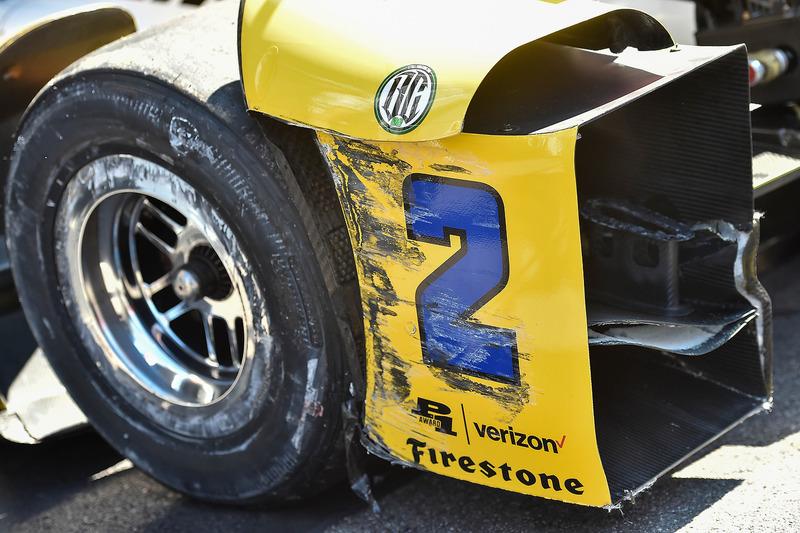 I danni sull'auto di Juan Pablo Montoya, Team Penske Chevrolet