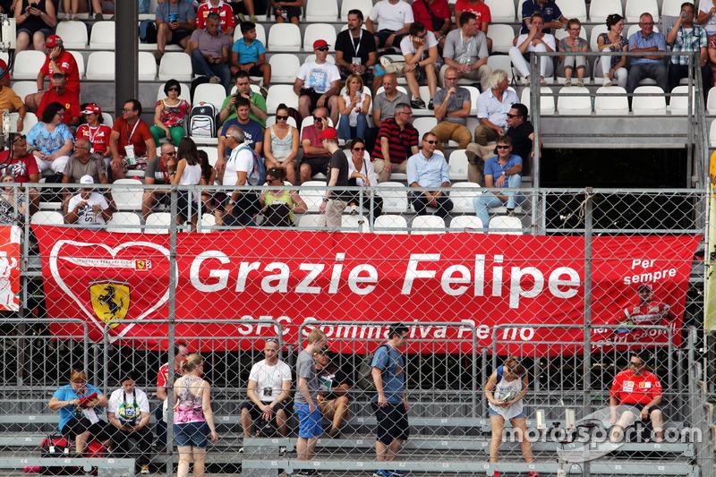 A banner for Felipe Massa, Williams from Ferrari fans in the grandstand