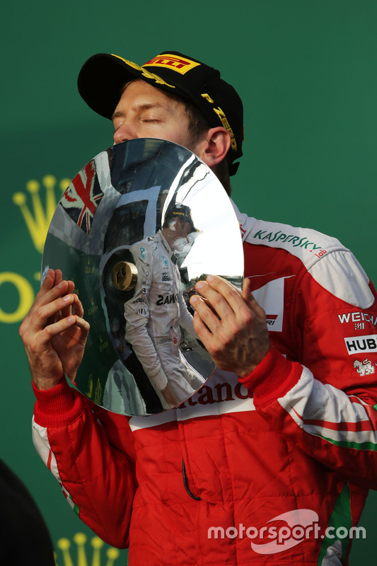 Podium: derde Sebastian Vettel, Ferrari