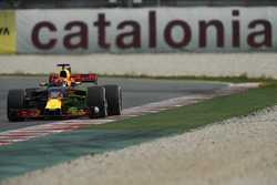 Max Verstappen, Red Bull Racing RB13, runs with flow viz paint