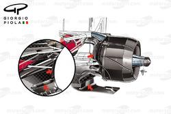 Comparaison des écopes de freins arrière, Ferrari SF16-H, GP du Brésil