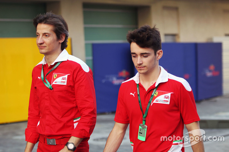 Massimo Rivola, Ferrari Driver Academy Director with Charles Leclerc, Haas Test Driver and GP3 Champ