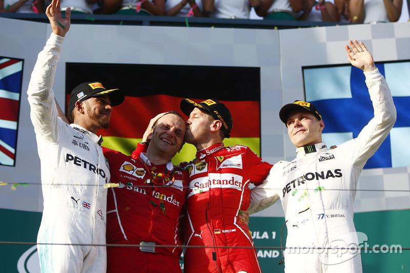 Podio: Sebastian Vettel, Ferrari, Lewis Hamilton, Mercedes AMG F1, Valtteri Bottas, Mercedes AMG F1,